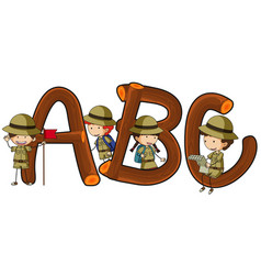 English alphabets and kids in safari outfit vector