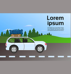 family travel vehicle on road route with luggage vector image