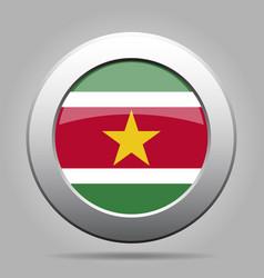Flag of suriname metal gray round button vector