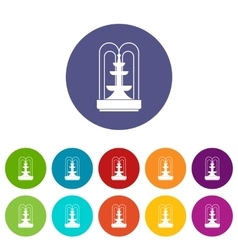 Fountain set icons vector