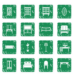 furniture icons set grunge vector image