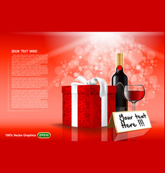 gift set with wine and glass template vector image