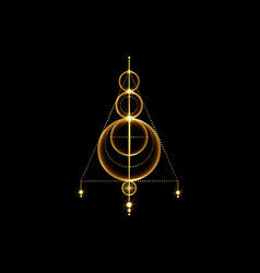 Gold sigil protection logo magical amulet sign vector