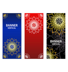 Golden elements of the mandala on dark red blue vector