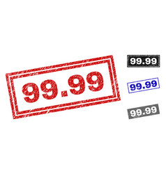 grunge 9999 scratched rectangle watermarks vector image