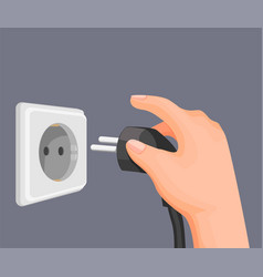 Hand put electric plug to socket outlet in wall vector