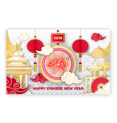 Happy chinese new year 2019 piglet symbol sign vector