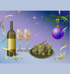 happy new year with wine vector image
