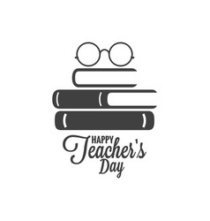 Happy teachers day icon glasses and book logo vector