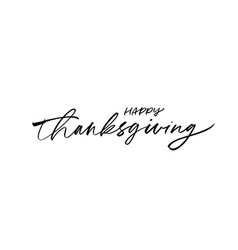 happy thanksgiving ink brush pen calligraphy vector image