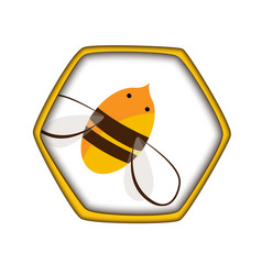honey comb icon with bee carving style vector image