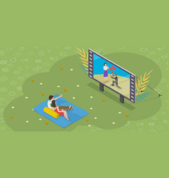 Isometric flat concept outdoor cinema vector