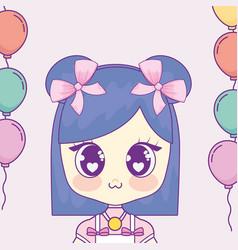 kawaii girl with balloons helium frame vector image