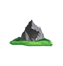 large gray mountain with sharp peaks surrounded vector image