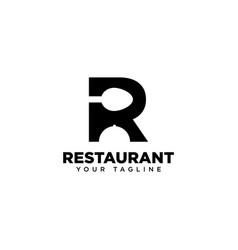 Letter r restaurant logo design template vector