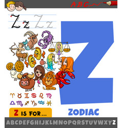 Letter z from alphabet with cartoon zodiac signs vector