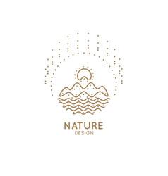 Logo mountain river vector