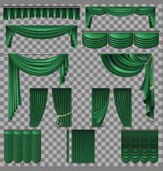 luxury set of golden velvet silk curtains eps 10 vector image
