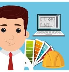 man architect laptop vector image