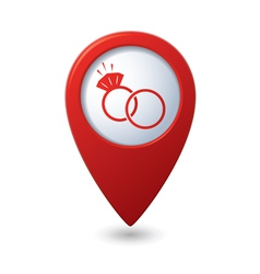 Map pointer with wedding rings icon vector