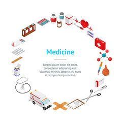 medical banner card circle isometric view vector image