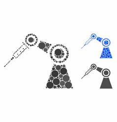 Medical inject robot mosaic icon circle dots vector