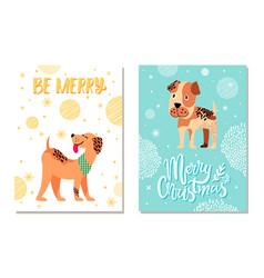 Merry christmas festive postcards with cute dogs vector