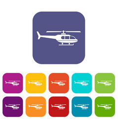 Military helicopter icons set vector