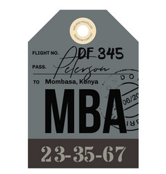 Mombassa airport luggage tag vector