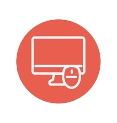 Monitor and computer mouse thin line icon vector image