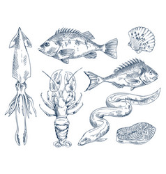 Monochrome icon set for seafood restaurant poster vector