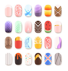 Nail art design false fingernails manicure vector
