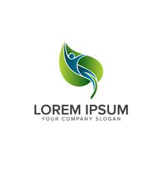 Natural people leaf logo design concept template vector
