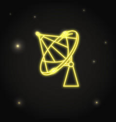 neon parabolic antenna icon in thin line style vector image