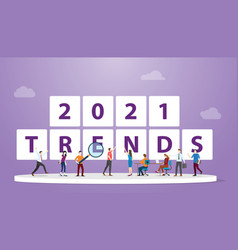 new year 2021 trends with people team analysis vector image