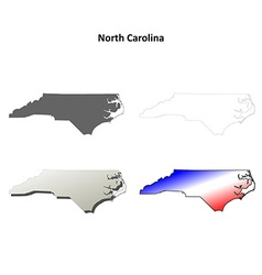 North carolina outline map set vector