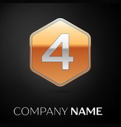 number four logo symbol in the golden hexagonal vector image