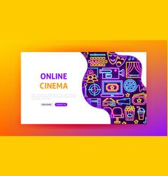 online cinema neon landing page vector image