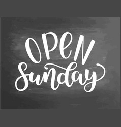 open sunday handlettering isolated on textured vector image