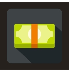 Packed dollars money icon in flat style vector image