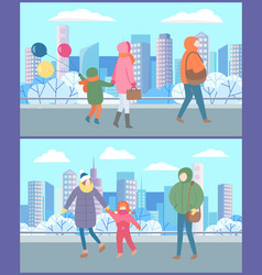 people walking in city park mothers with children vector image