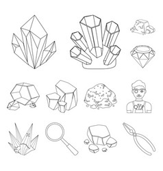 precious minerals outline icons in set collection vector image