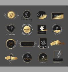 premium gold logo for printingproductweddingvec vector image