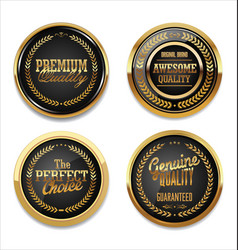 premium quality gold and black labels vector image
