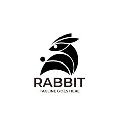 rabbit silhouette template vector image