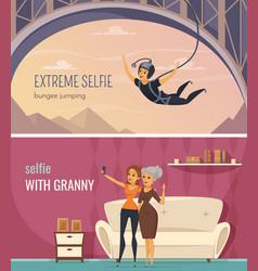 Selfie banners set vector