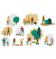 Set farmers or agricultural workers planting vector