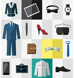 Set of flat business work clothes and accessories vector image