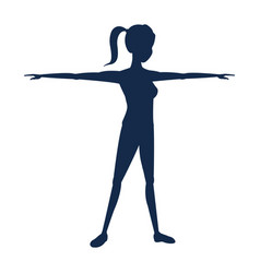 Silhouette sport girl fitness with open arms vector