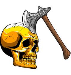 Skull with ax art vector